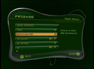 Original version of Xbox Live dashboard on Xbox
