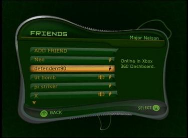 Original version of Xbox Live dashboard on Xbox