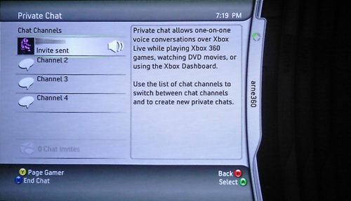 Xbox Live chat screen